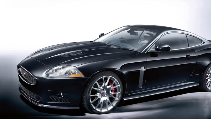 Side Pose Of Jaguar XKR-S In Black